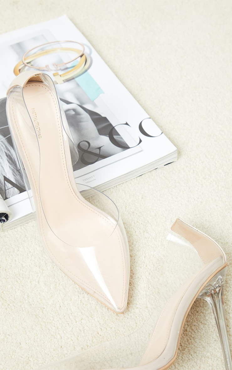 Nude High Clear Heel Cut Out Side Clear Court Shoes 1