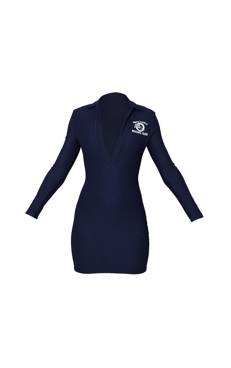 Navy Rib Tennis Print Long Sleeve Polo Bodycon Dress 5