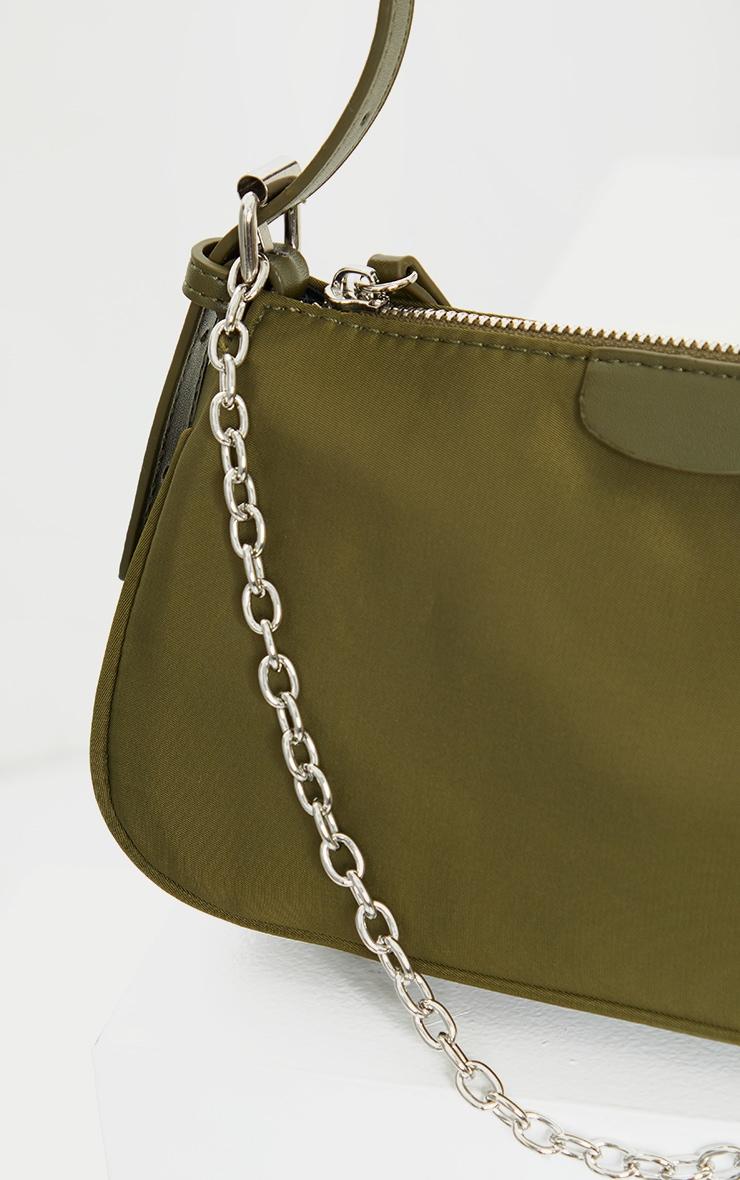 Olive Nylon Silver Chain Shoulder Bag 3