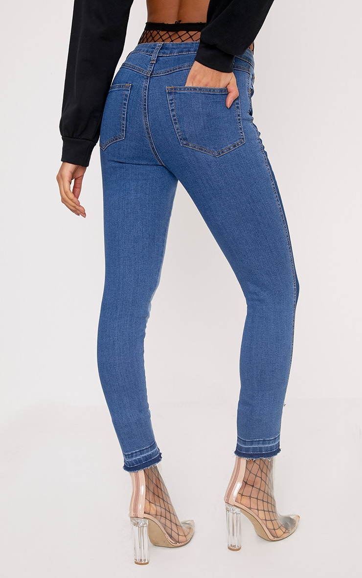 Light Wash Contrast Side High Waisted Skinny Jean 4
