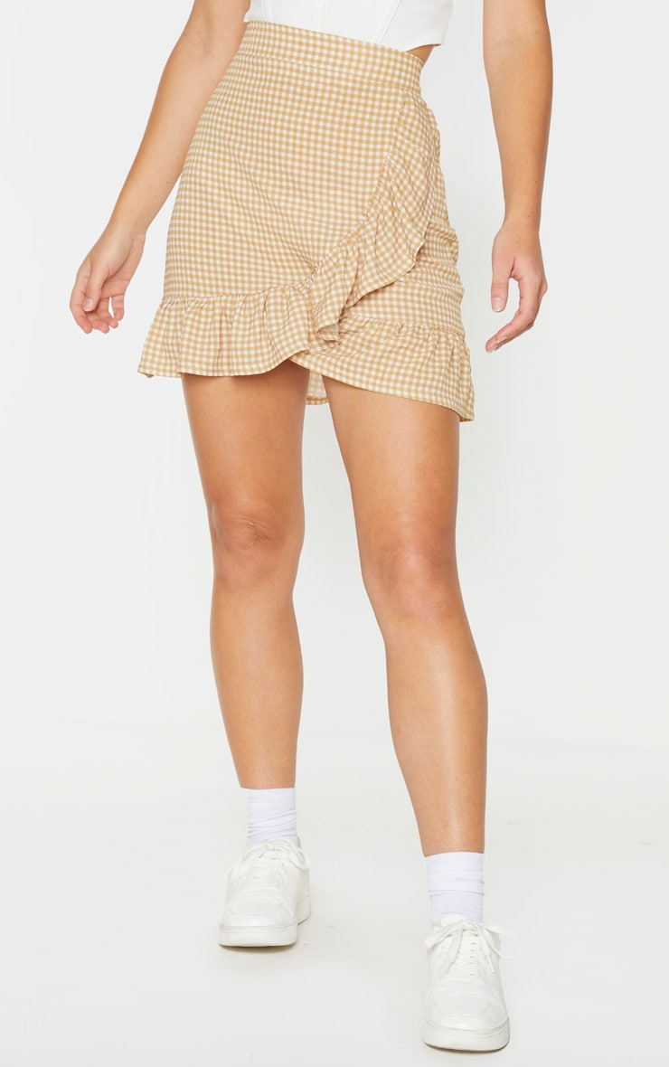 Stone Gingham Frill Hem Wrap Mini Skirt 2