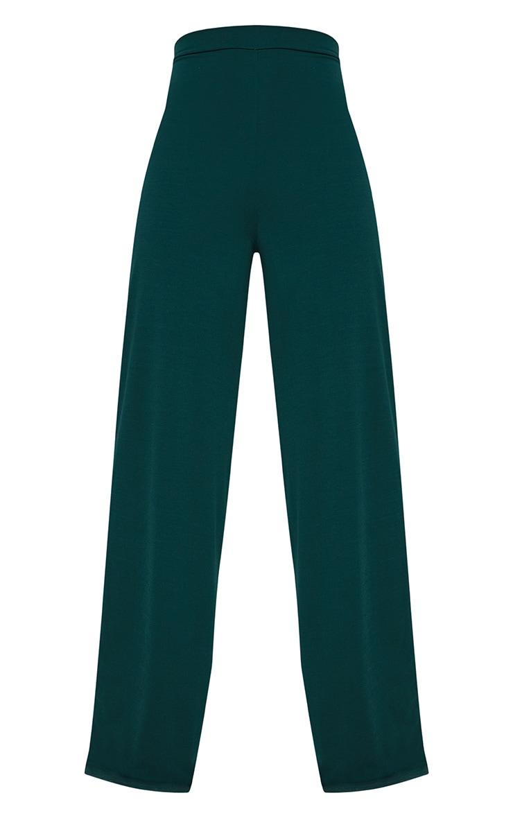 Emerald Green Slinky Wide Leg Pants  4