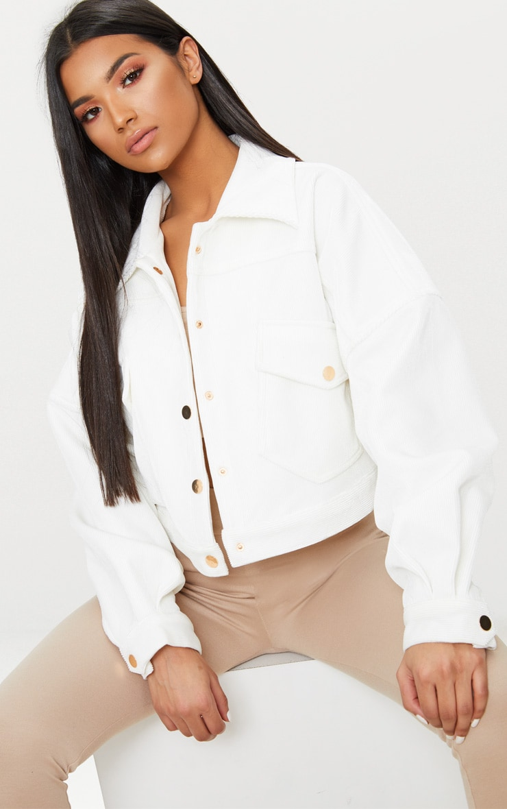 White Cord Oversized Trucker Jacket