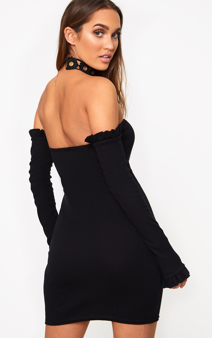 Black Ribbed Frill Bardot Bodycon Dress  2