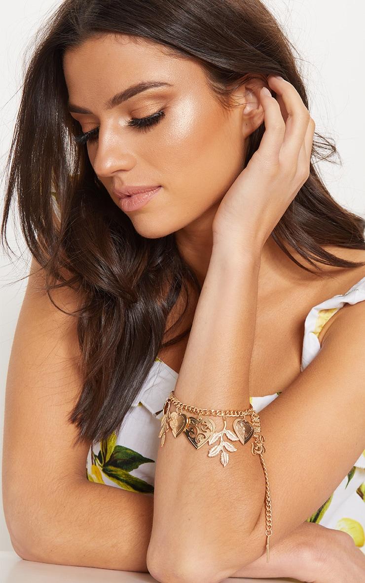 Gold Te Amo Heart Locket Pendant Bracelet 1