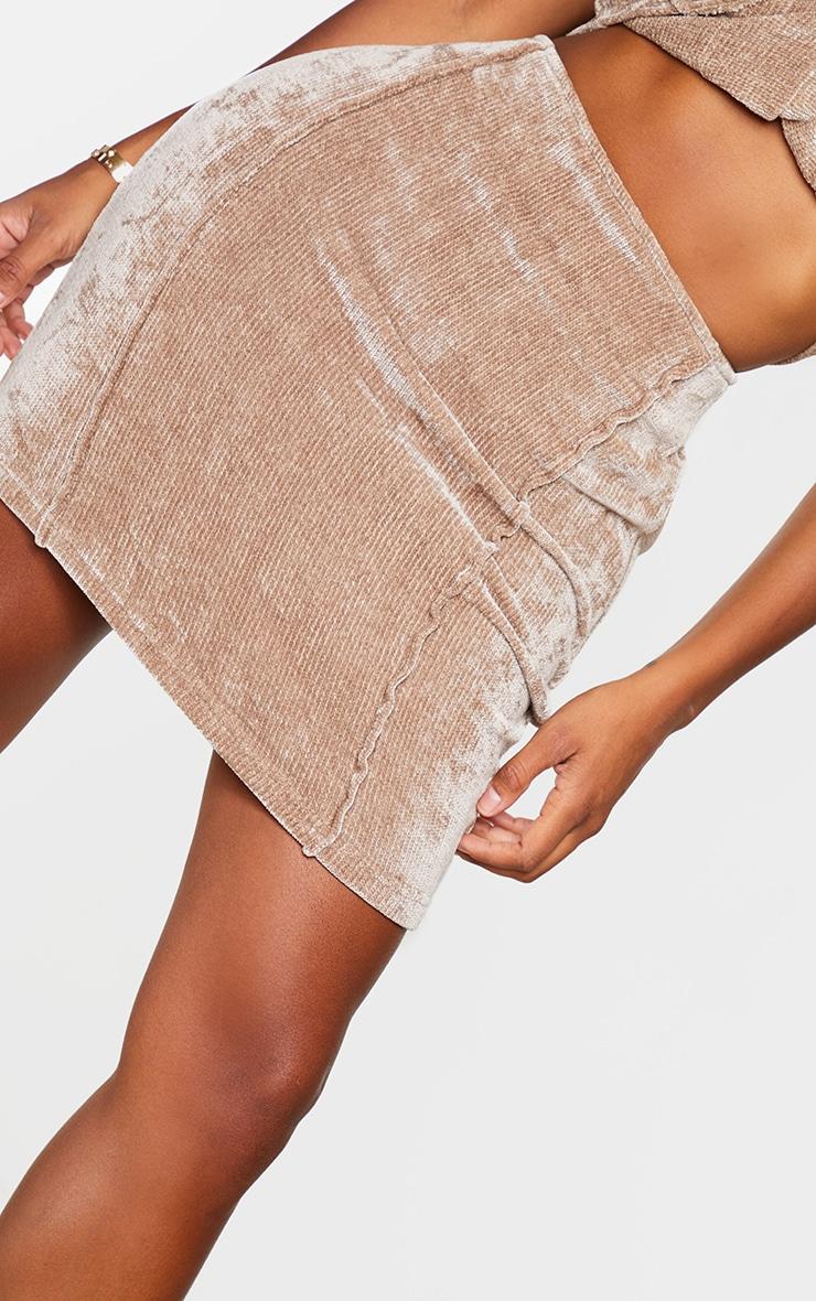 Shape Brown Rib Velour Seam Detail Bodycon Skirt 5