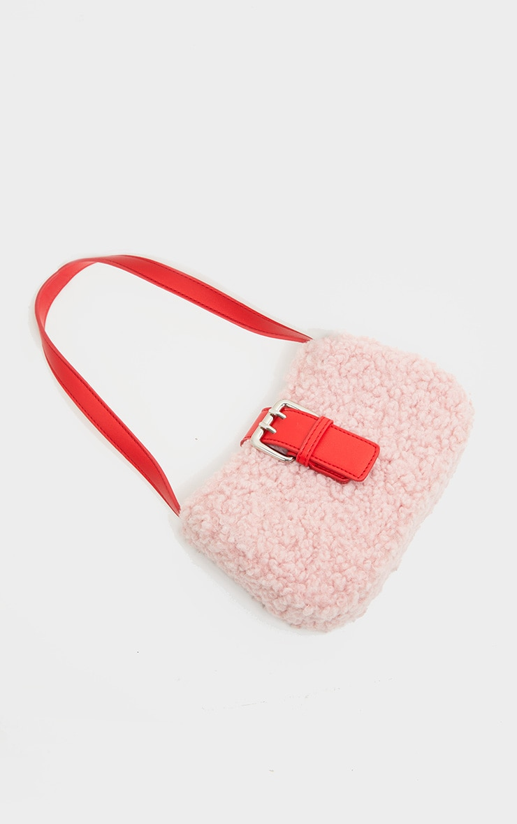 Pink Teddy Fur Red Buckle Shoulder Bag 3