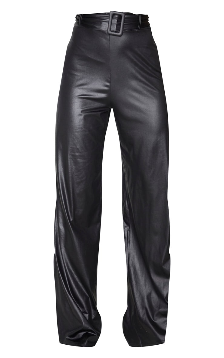 Black Faux Leather Belted Wide Leg Trousers 6