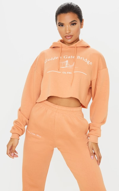Chestnut Golden Gate Slogan Crop Hoodie