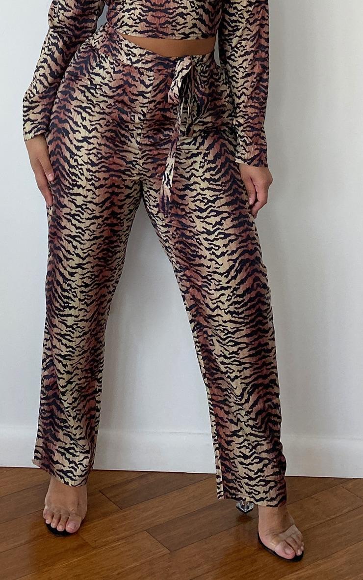 Plus Brown Tiger Print Straight Leg Pants 2