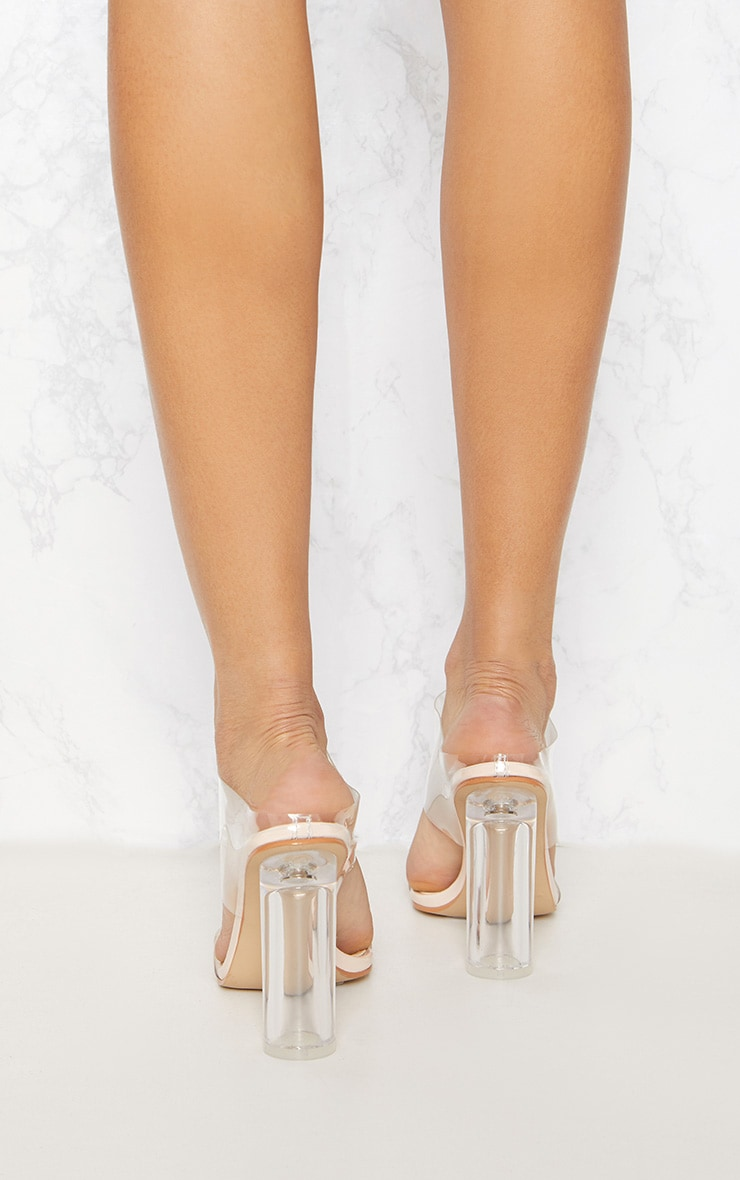 Clear Block Heel Twin Strap Sandal  4