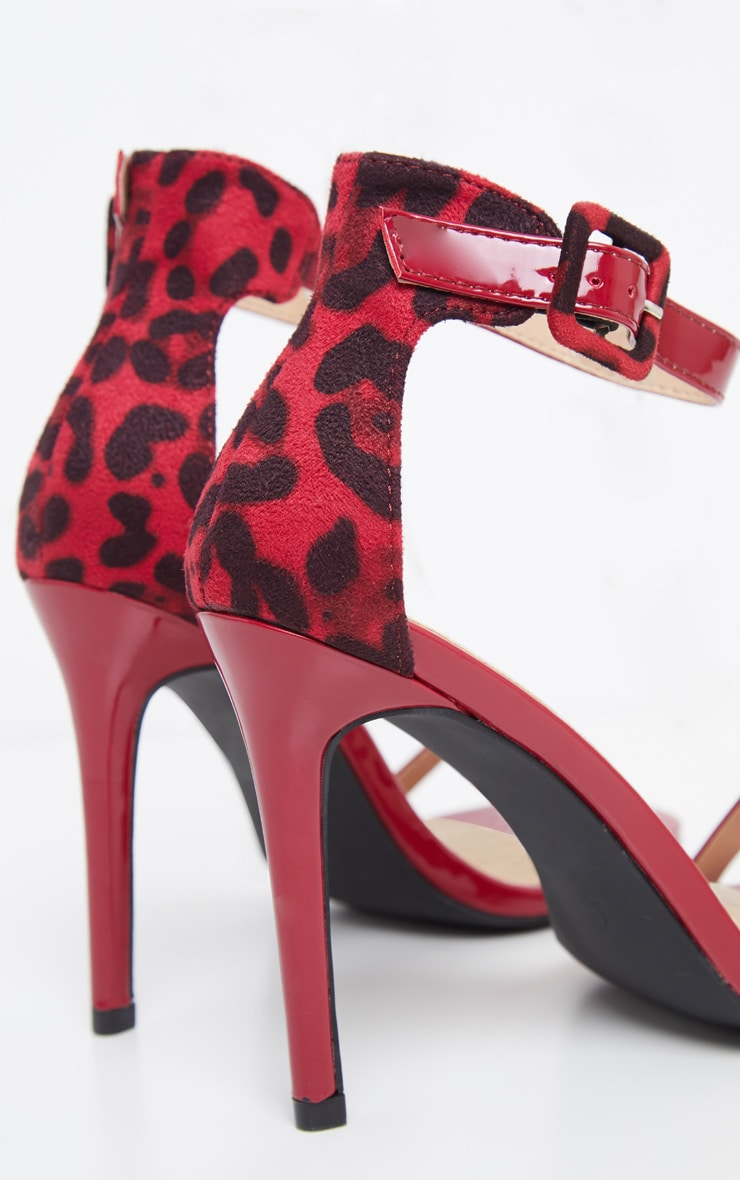 Red Two Tone Leopard Square Toe Heeled Sandal 4