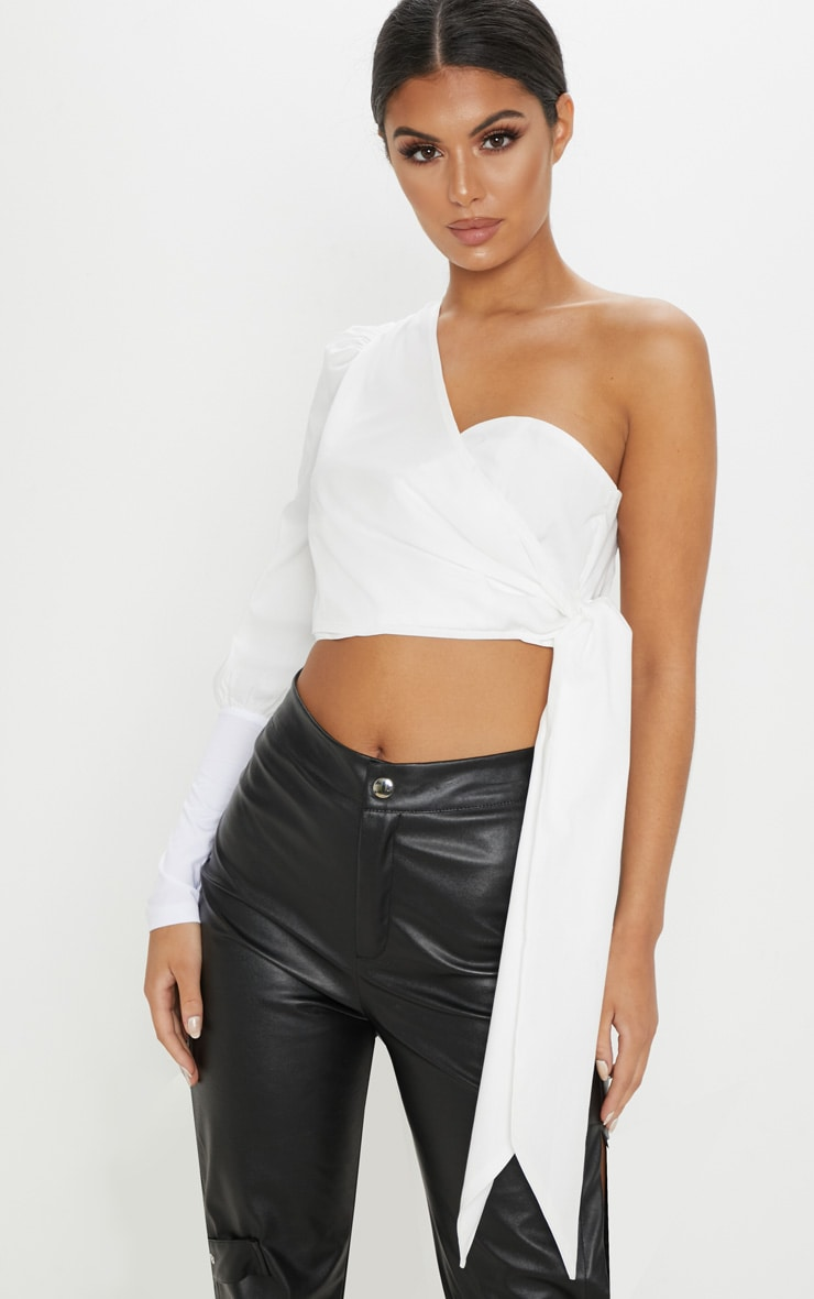 White One Shoulder Tie Crop Shirt 1