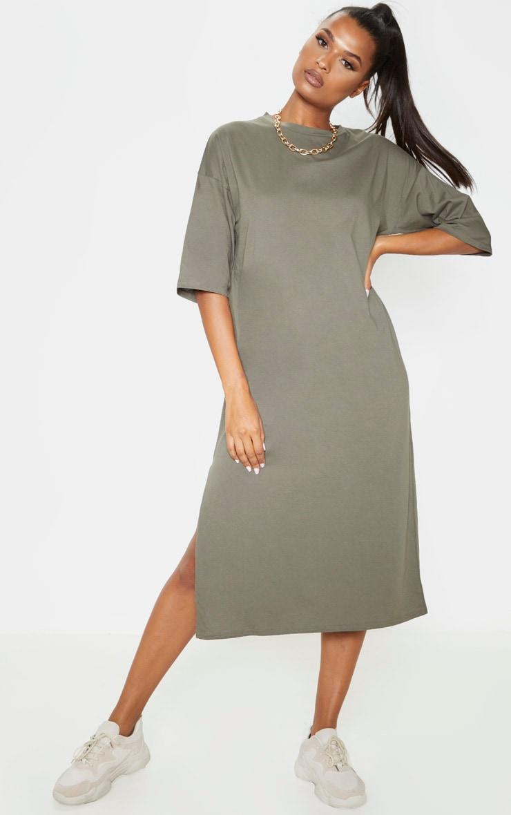 Khaki Oversized Midi T Shirt Dress 1