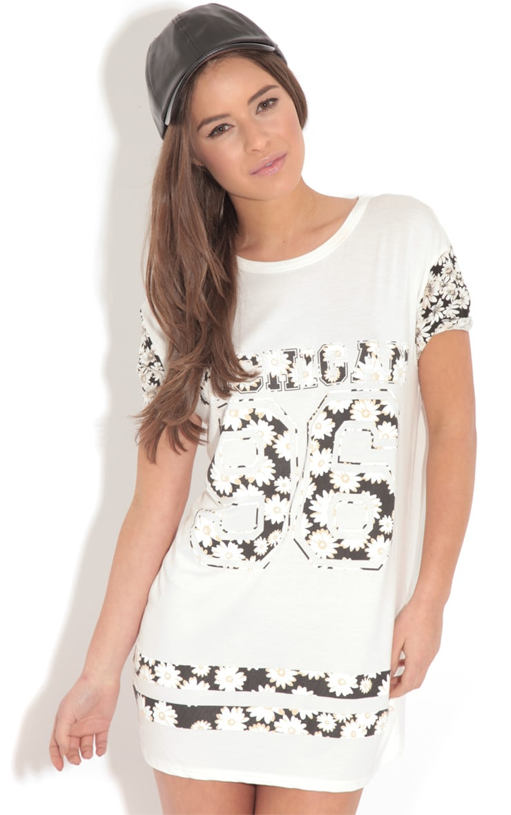 Ella White & Black Floral 'Michigan' Tee 1