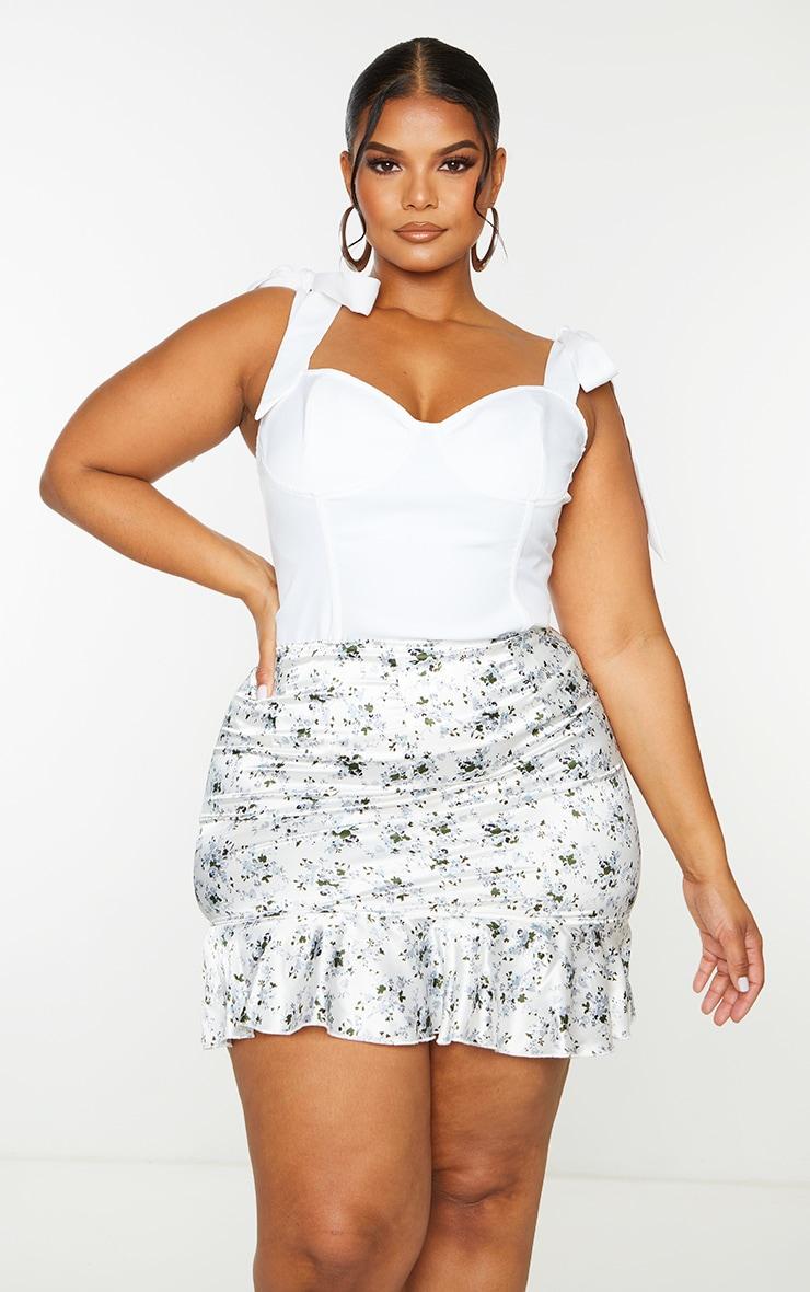 Plus White Floral Print Satin Frill Hem Mini Skirt 4