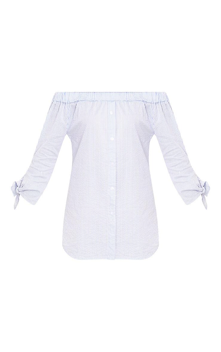 Adaline Blue Striped Button Through Bardot Shift Dress  3