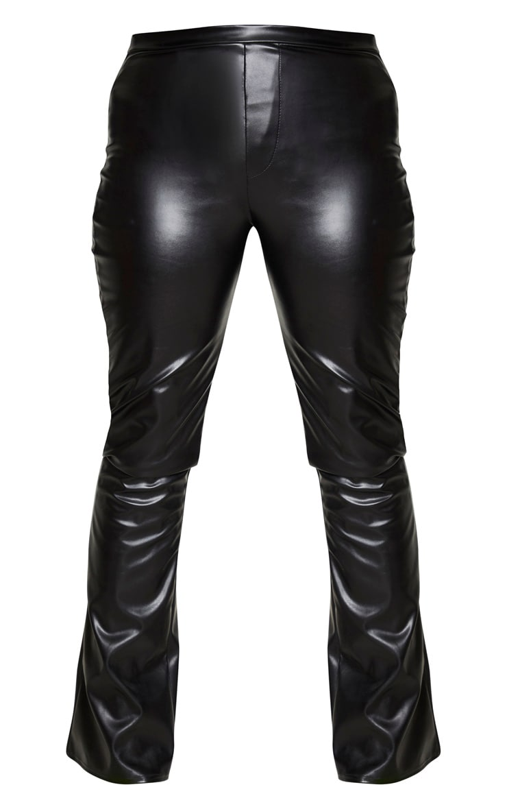 Black Faux Leather Pocket Flared Trousers 5