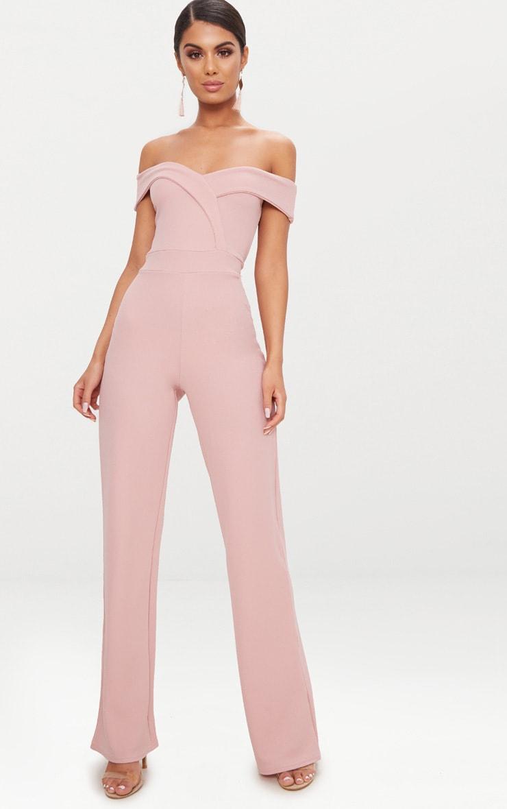 Pink Crepe Bardot Folded Detail Jumpsuit 1