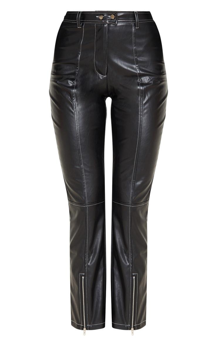 Pantalon droit en similicuir noir profond à coutures contrastantes 3