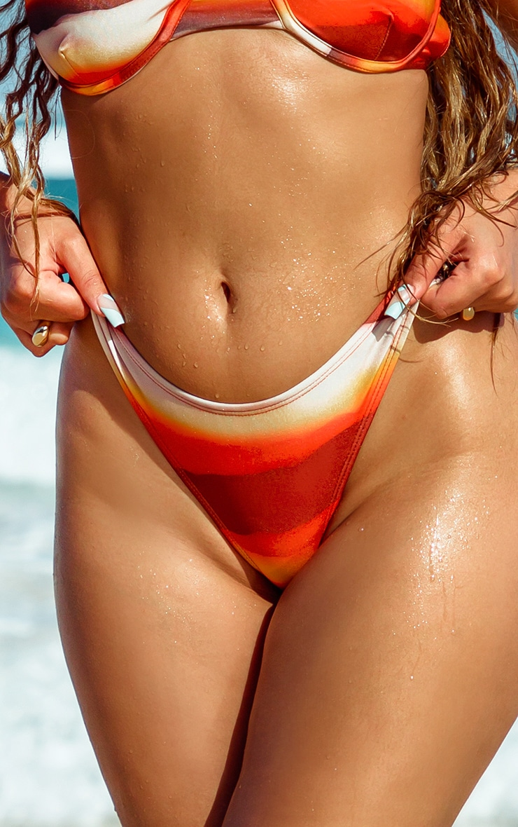 Orange Ombre High Leg Bikini Bottom 4
