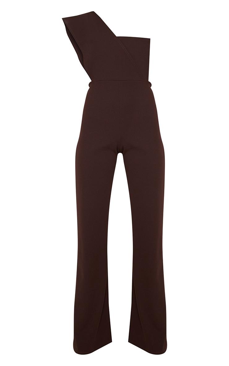 Chocolate Drape One Shoulder Jumpsuit 3