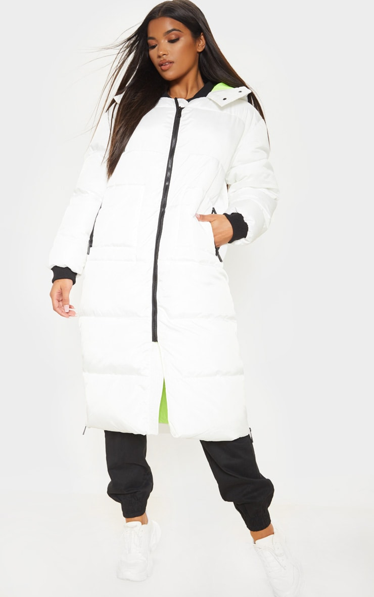 White Maxi Contrast Hooded Puffer 4
