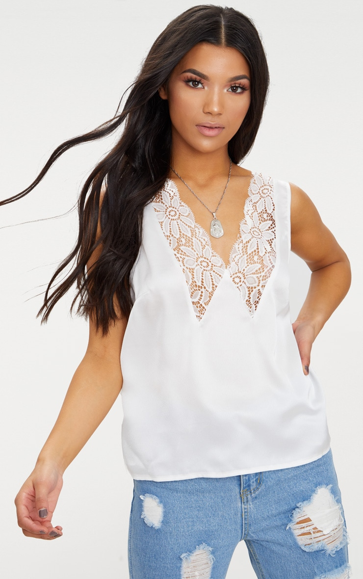 Cream Eyelash Lace Plunge Satin Blouse  1
