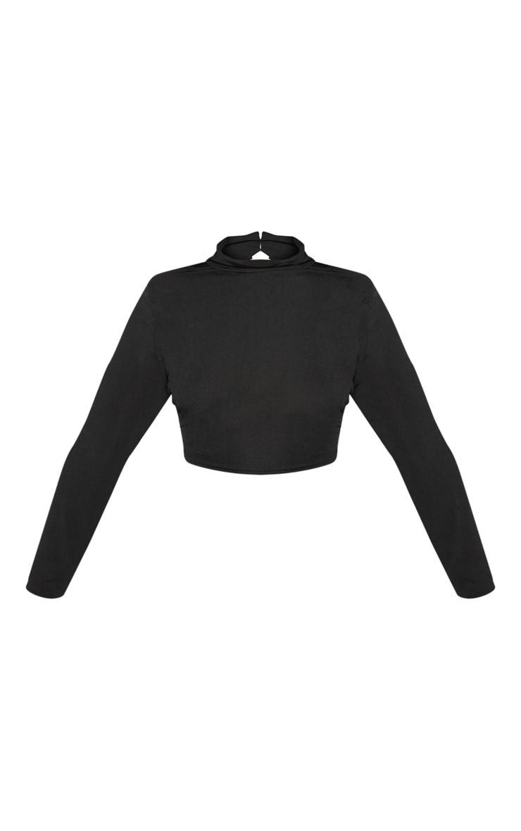 Plus Black Slinky High Neck Long Sleeve Crop Top 3