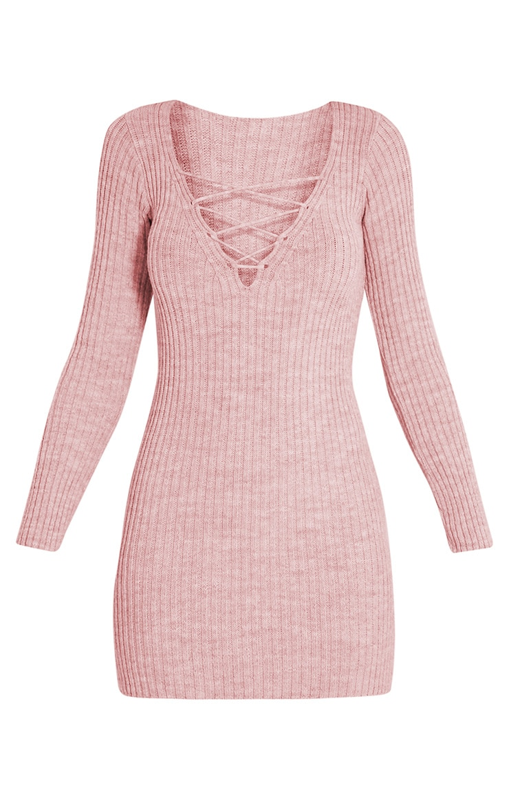 Zosia Rose Lace Up Knitted Jumper Dress 3