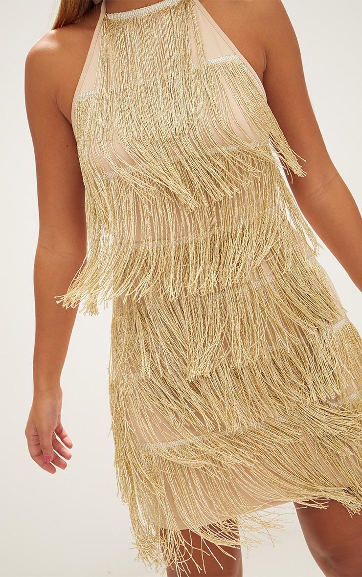 Gold Tassel Detail Halterneck Bodycon Dress 5