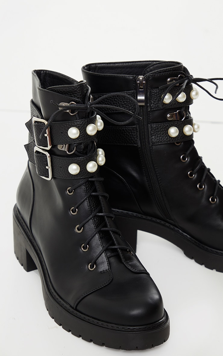 Black PU Pearl Trim Double Strap Biker Boot 3