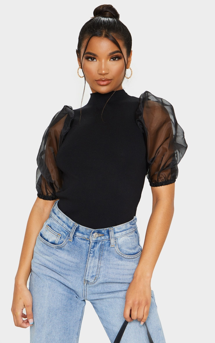 Black Organza Puff Sleeve Knitted Top 1