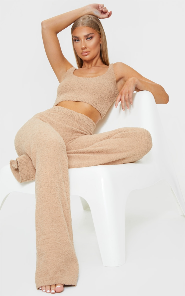Taupe Chenille High Waist Pants 1