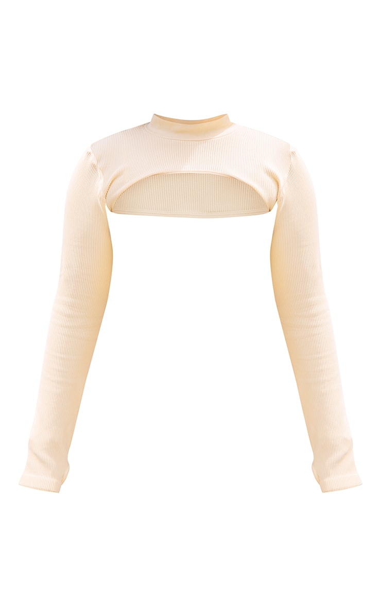 PLT Plus - Crop top très court crème côtelé à manches longues détail contours 5