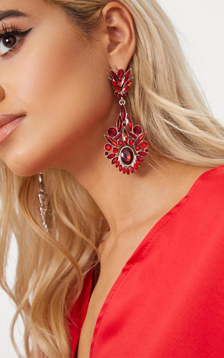 Red Diamante Detail Drop Earrings 2