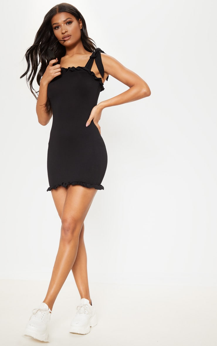 Black Frill Tie Shoulder Bodycon Dress  1