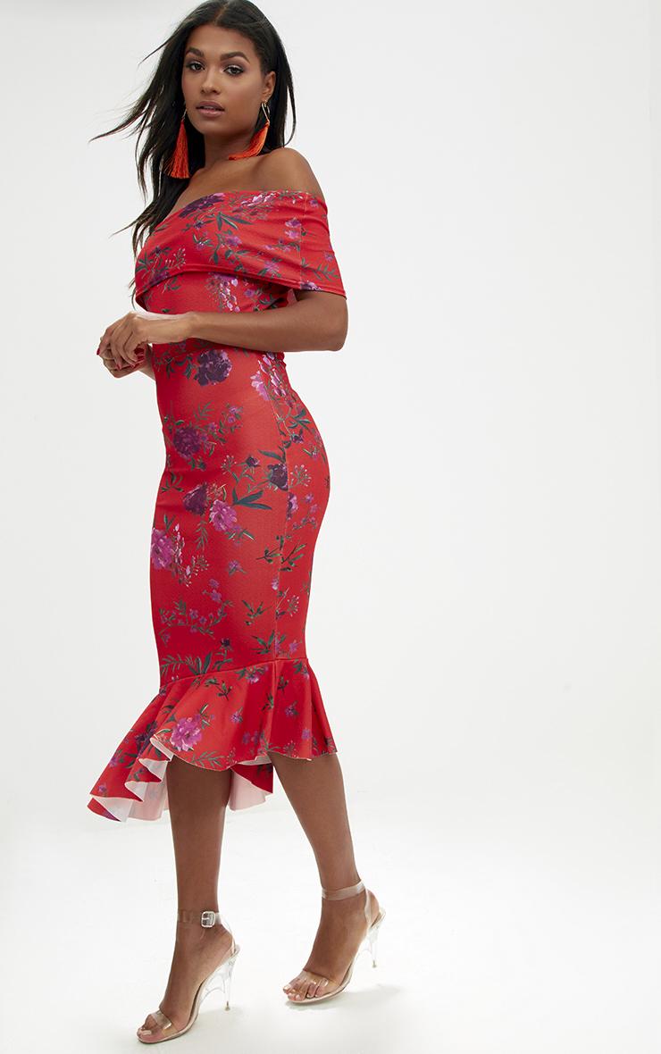 Orange Floral Asymmetric Bardot Frill Detail Midi Dress 4
