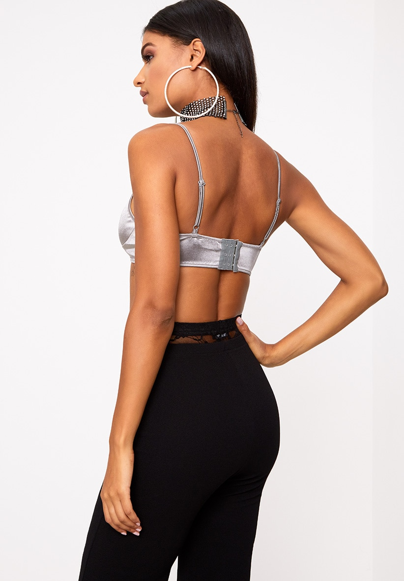 Grey Satin Shine Bralet 2