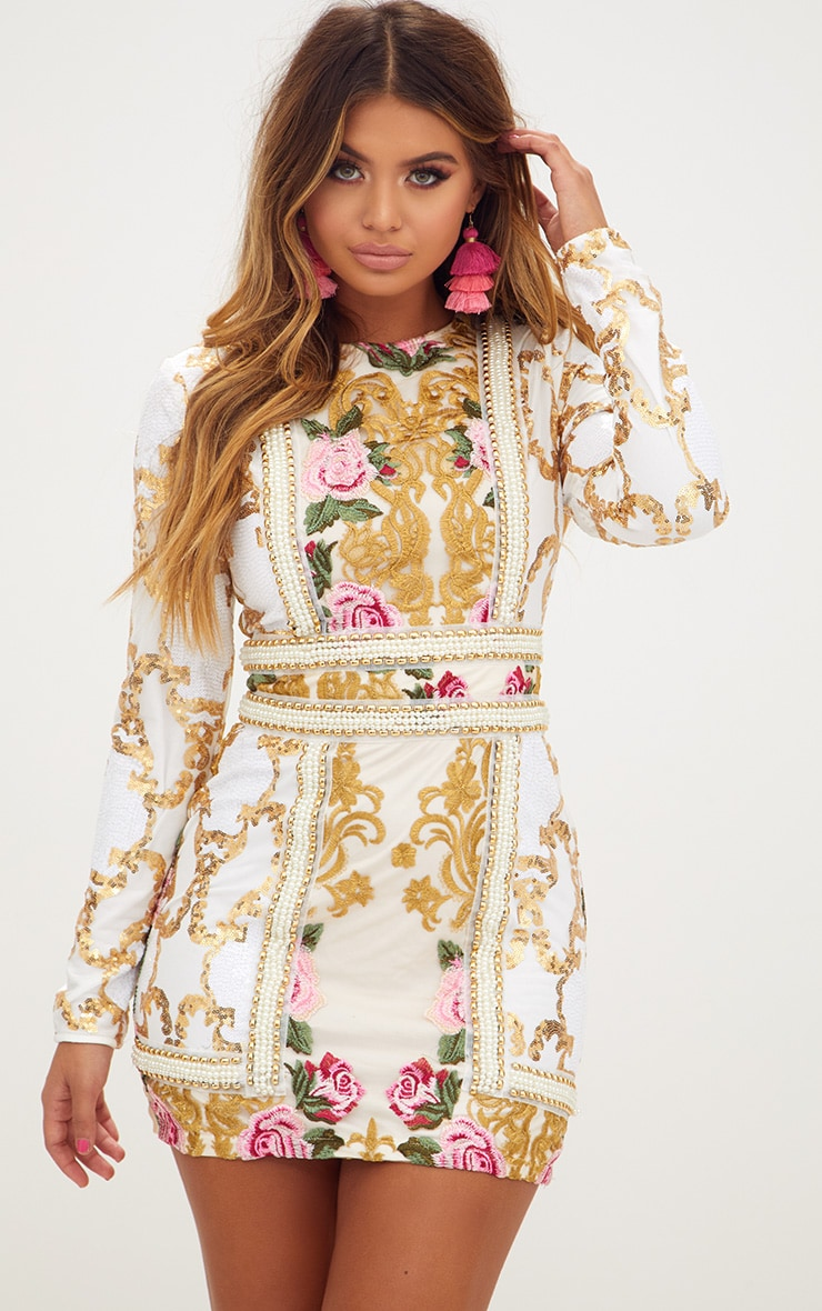 Premium White Embroidered Long Sleeve Pearl Trim Bodycon Dress  2