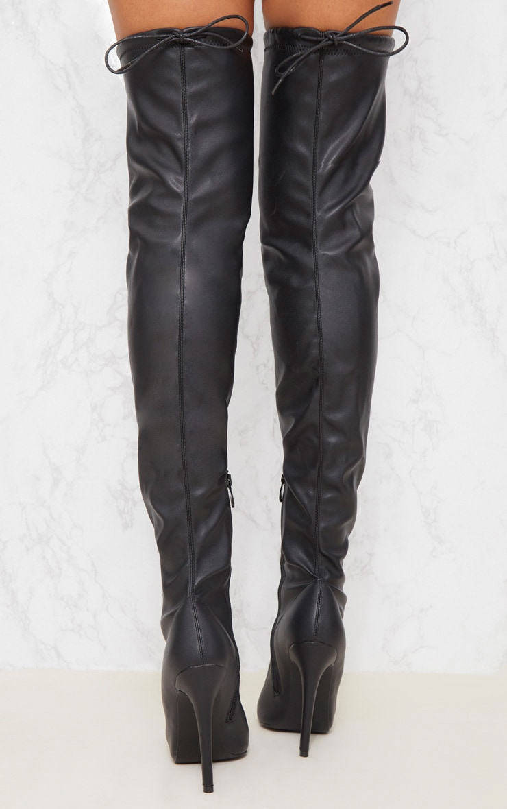 Black PU Pointed Thigh High Boot 4