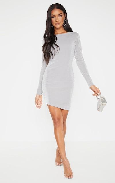 Silver Textured Slinky Long Sleeve Bodycon Dress