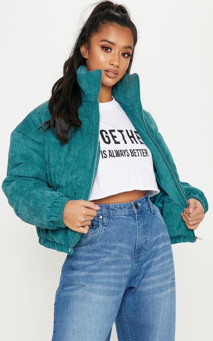 Petite Emerald Green Cord Puffer Jacket 4