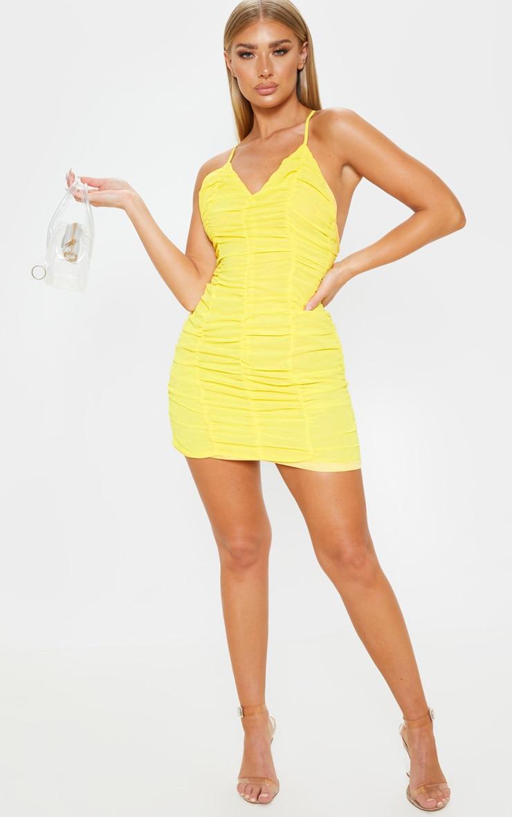 Yellow  Chiffon Ruched Bodycon Dress 4