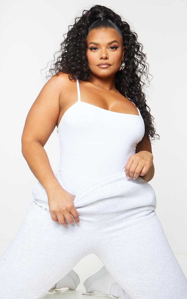 Plus Basic White Cotton Blend Strappy Square Neck Thong Bodysuit 1