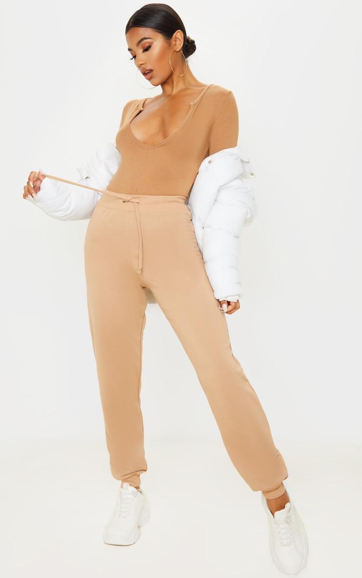 Basic Dark Camel Plunge Long Sleeve Bodysuit 5