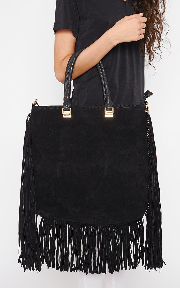 Emeli Black Suede Tassel Bag 1