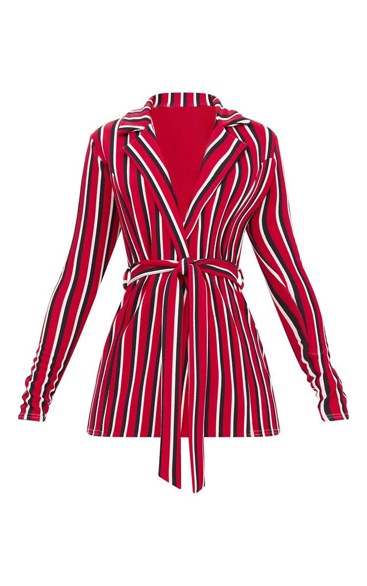 Red Contrast Stripe Belted Blazer 3