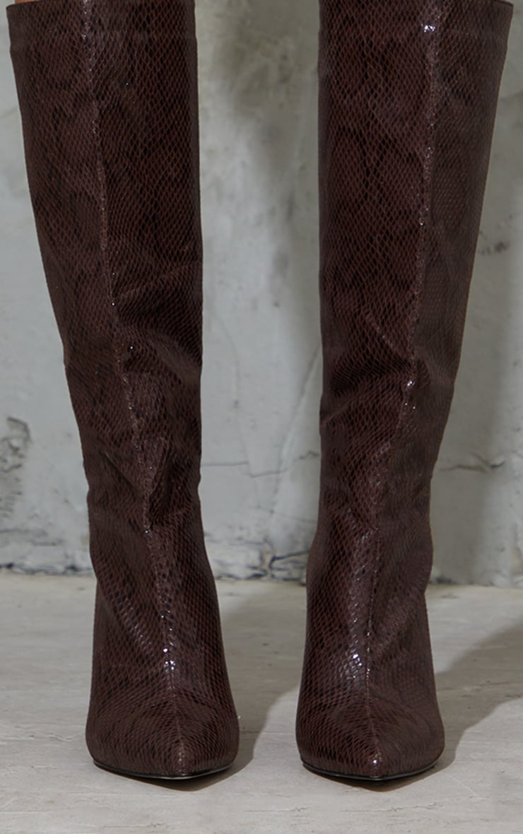 Chocolate Snake Scale Pointed Toe Stiletto Boots 3