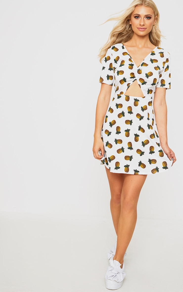 White Pineapple Print Front Ruched Swing Dress  1